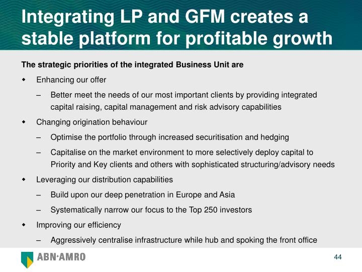 Integrating LP and GFM creates a stable platform for profitable growth