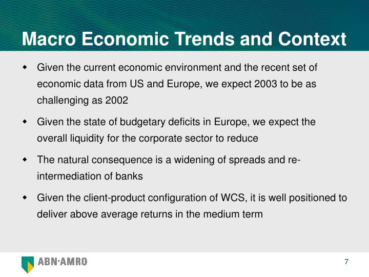 Macro Economic Trends and Context