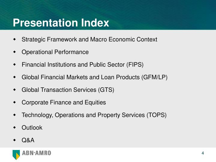 Presentation Index