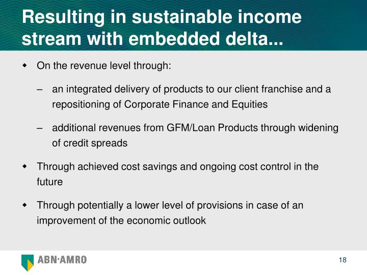 Resulting in sustainable income stream with embedded delta...