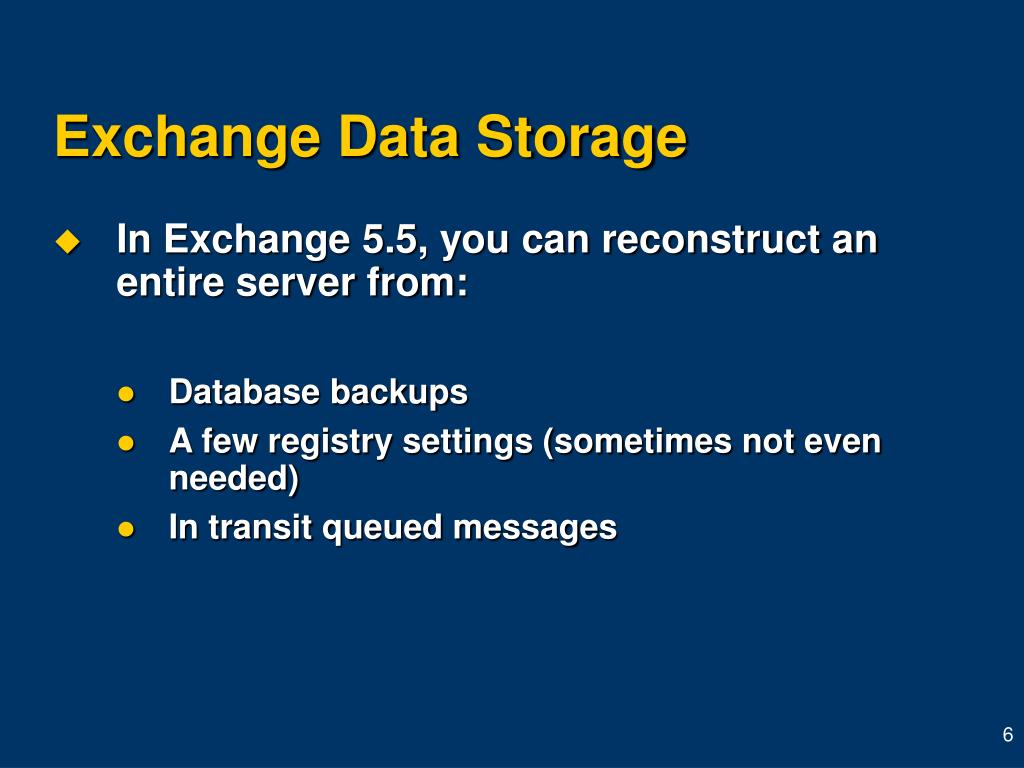 Exchange Data Storage