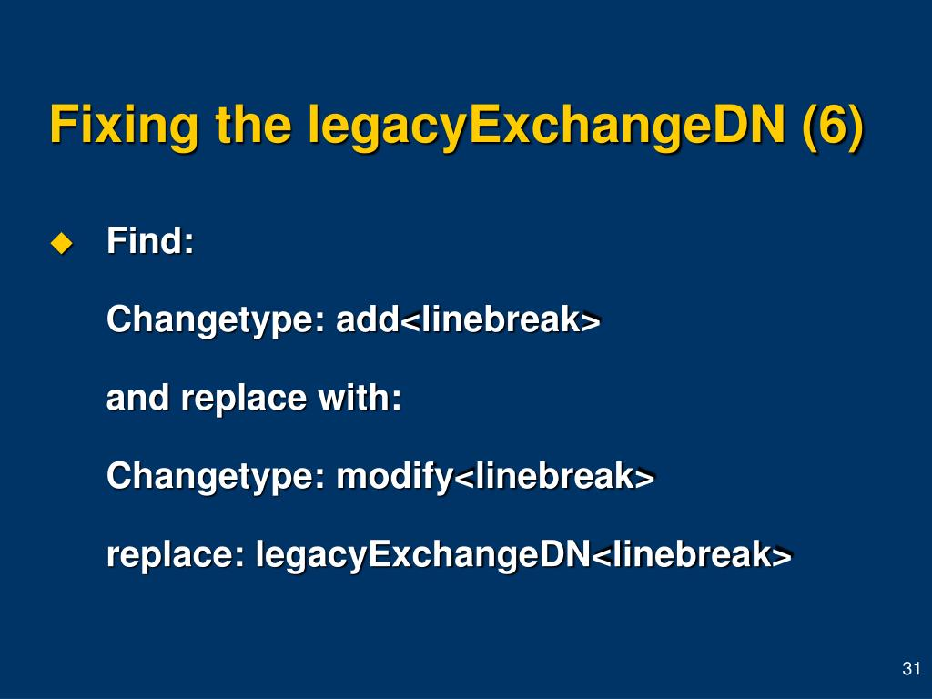 Fixing the legacyExchangeDN (6)