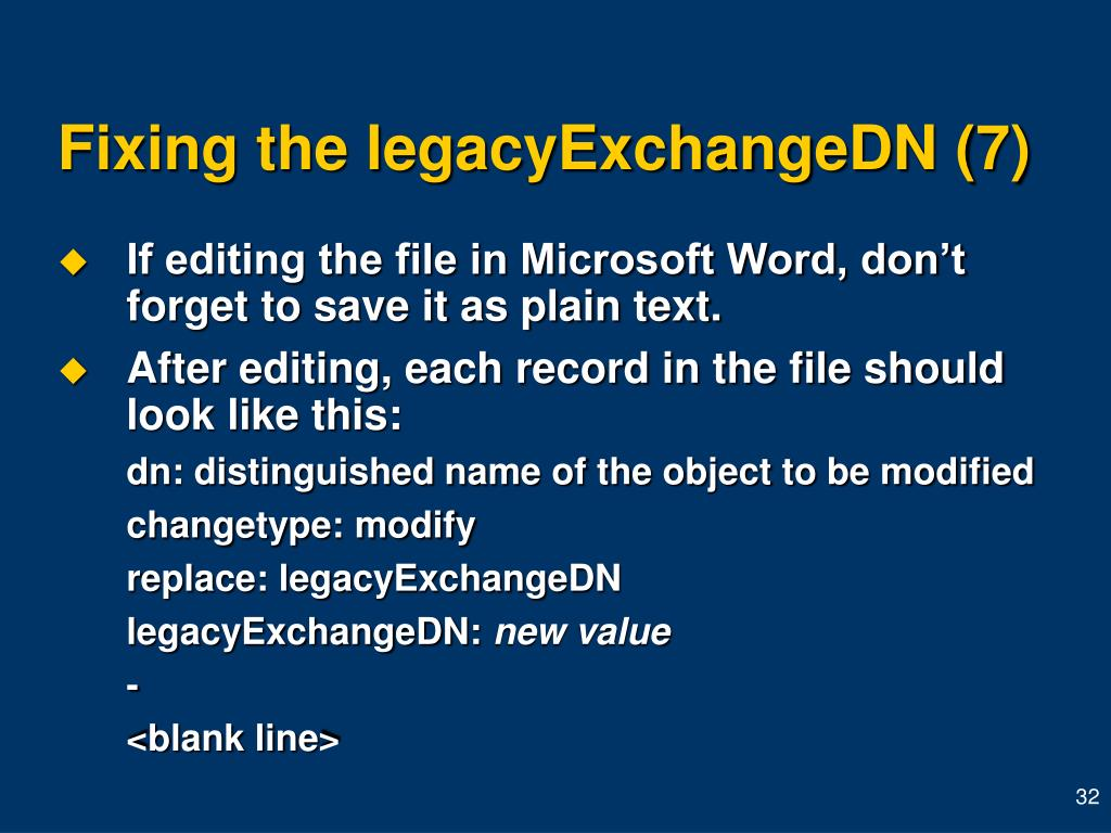 Fixing the legacyExchangeDN (7)