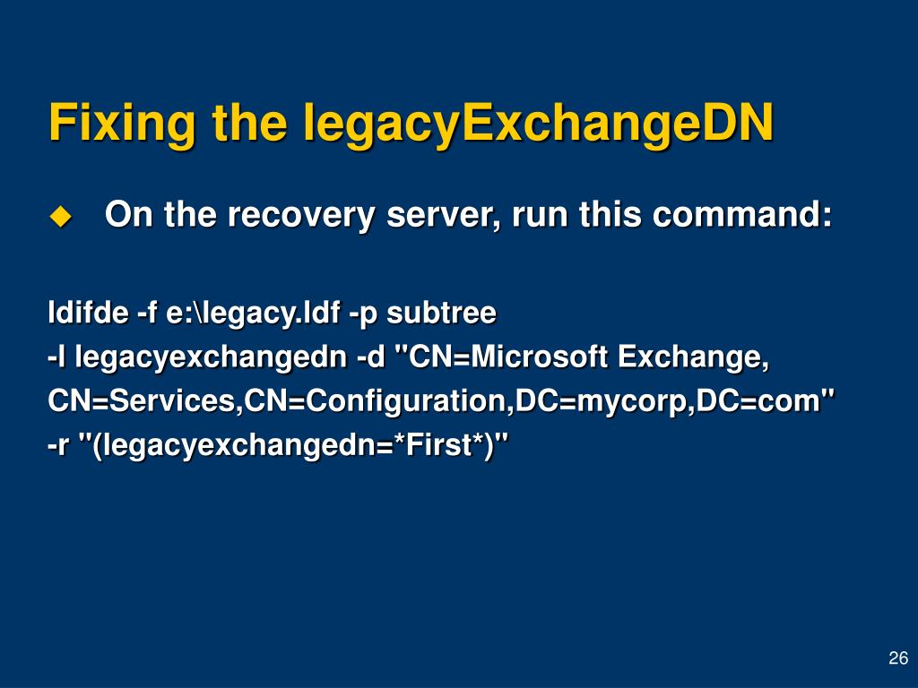 Fixing the legacyExchangeDN