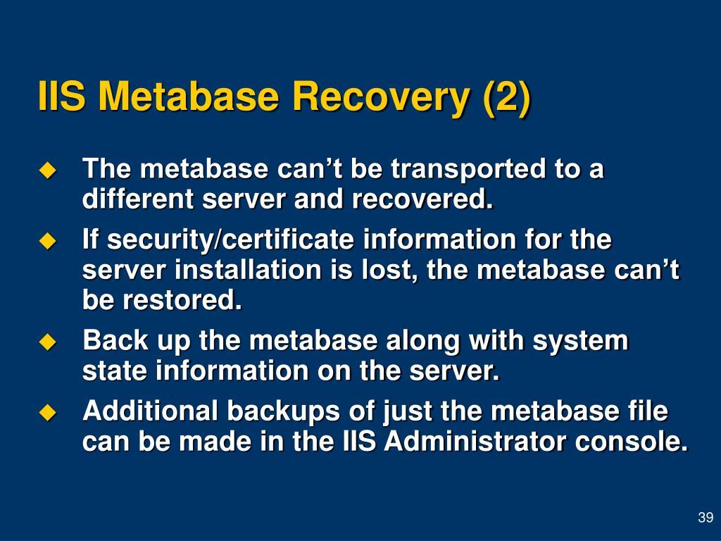 IIS Metabase Recovery (2)