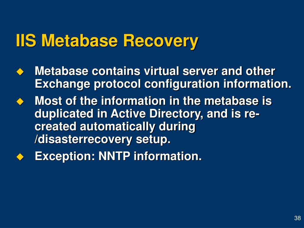 IIS Metabase Recovery