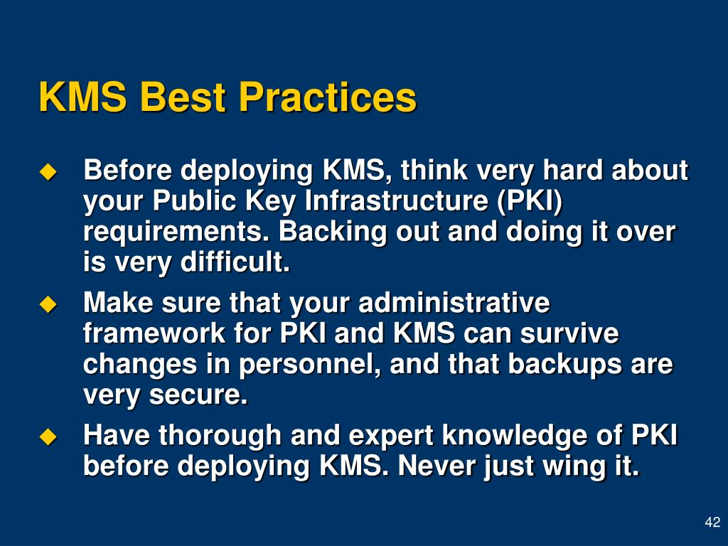 KMS Best Practices