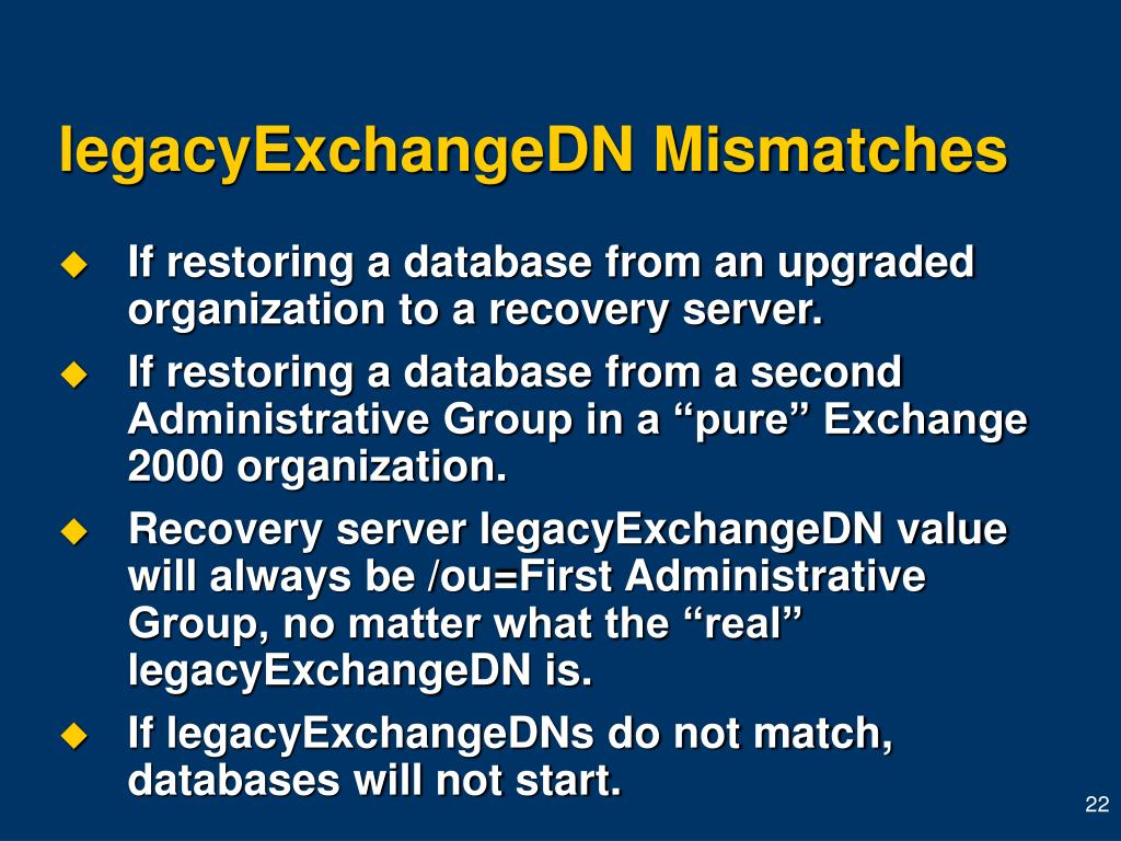 legacyExchangeDN Mismatches