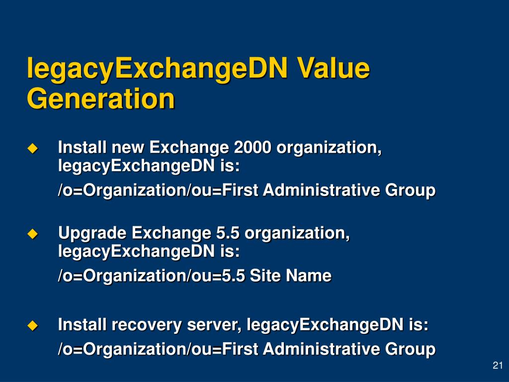 legacyExchangeDN Value Generation