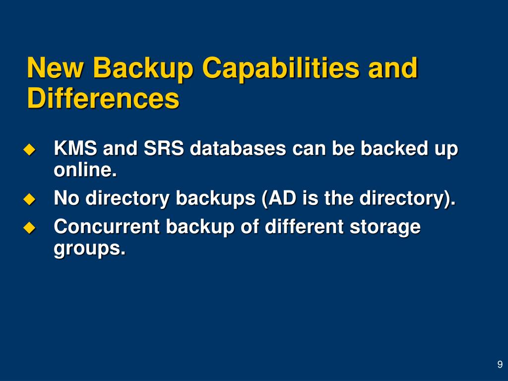 New Backup Capabilities and Differences