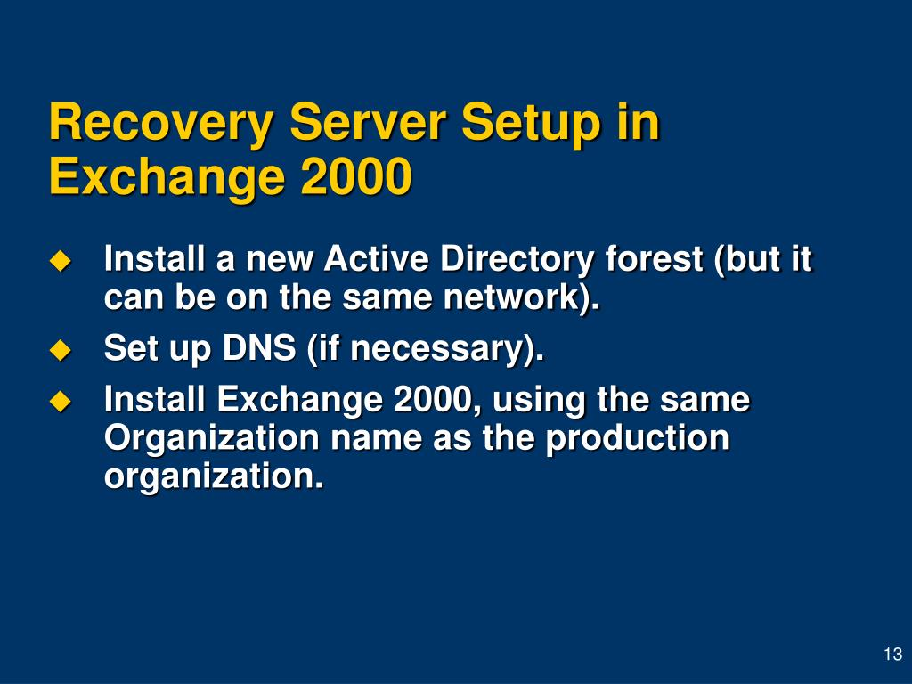 Recovery Server Setup in Exchange 2000