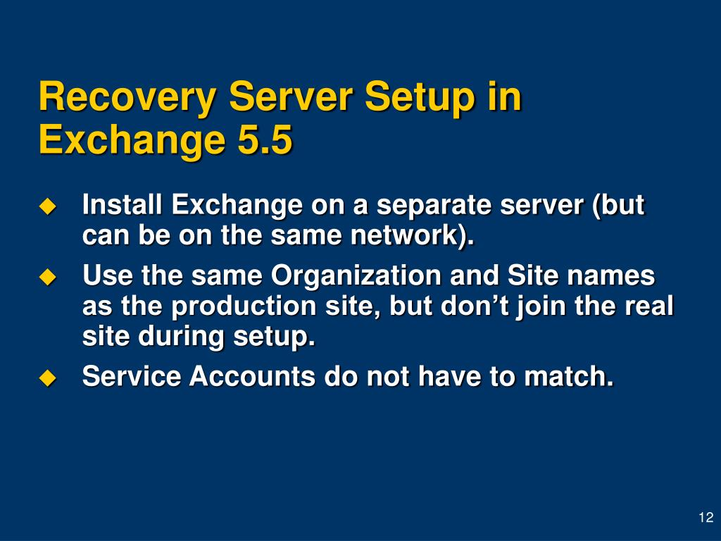 Recovery Server Setup in Exchange 5.5