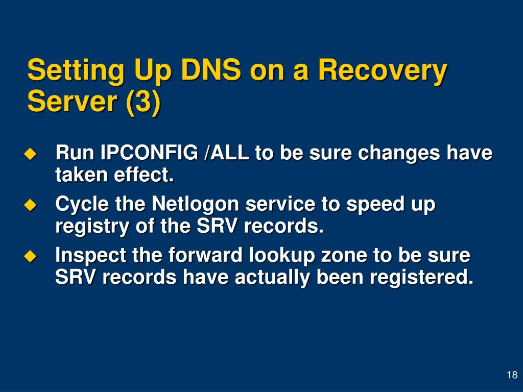 Setting Up DNS on a Recovery Server (3)