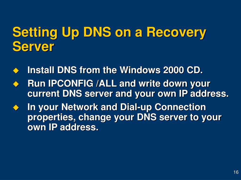 Setting Up DNS on a Recovery Server
