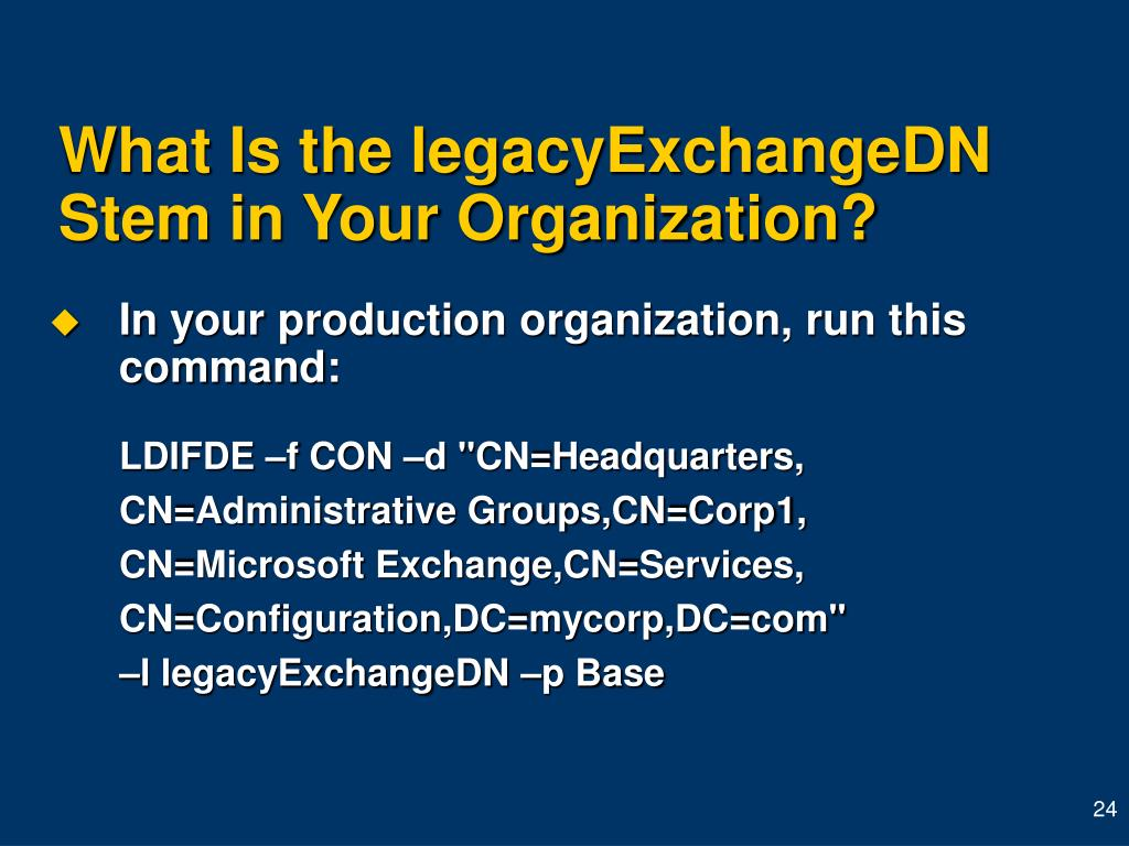 What Is the legacyExchangeDN Stem in Your Organization?