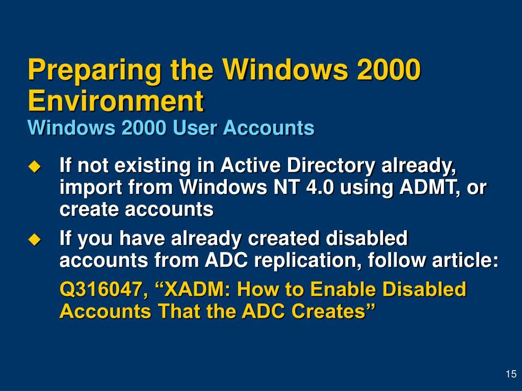 Preparing the Windows 2000 Environment
