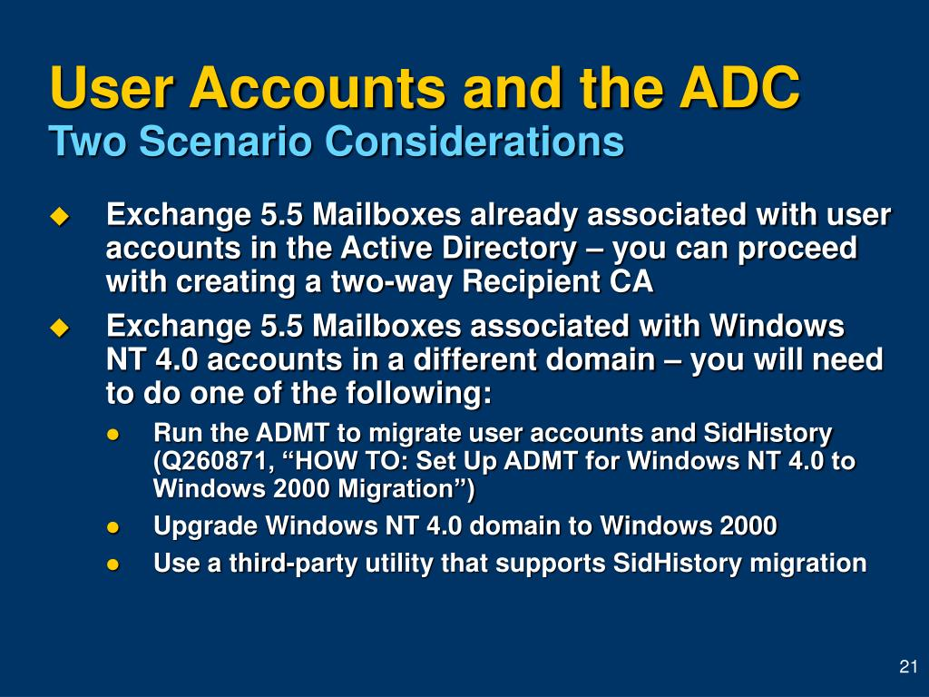 User Accounts and the ADC