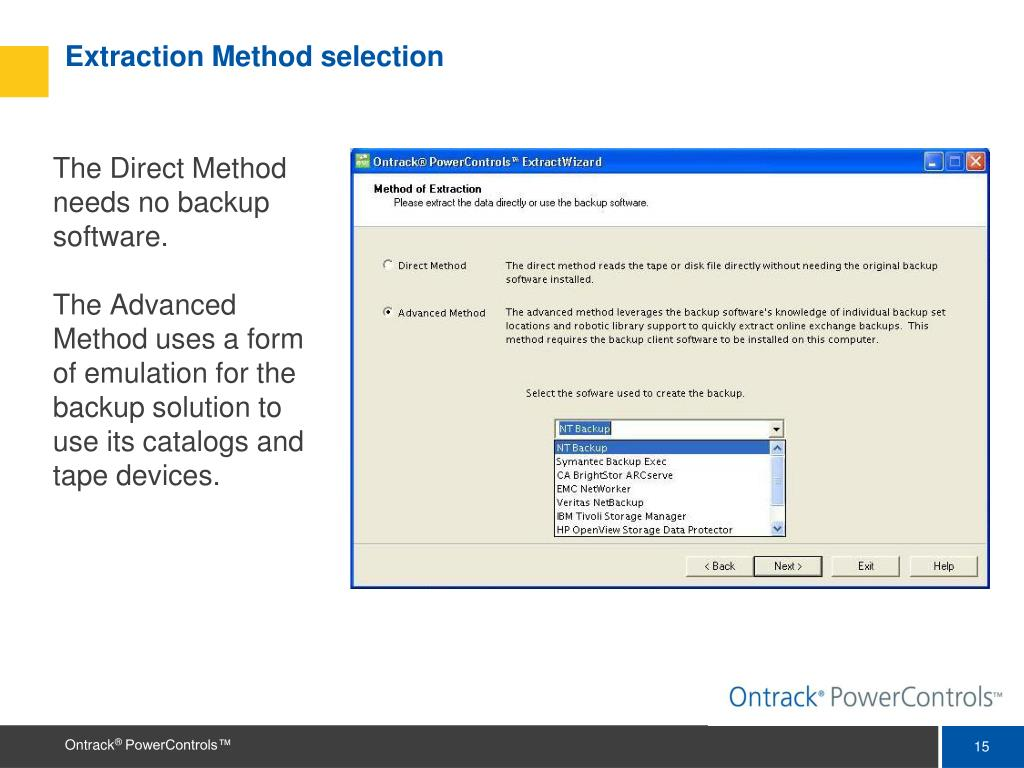 Extraction Method selection