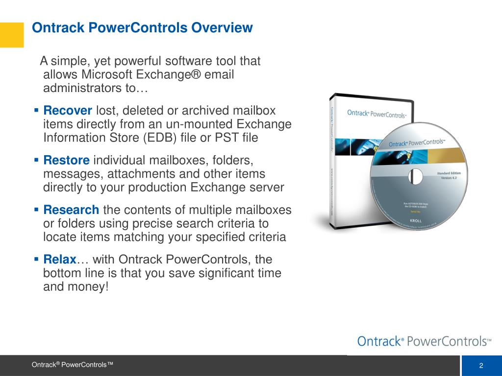 Ontrack PowerControls Overview