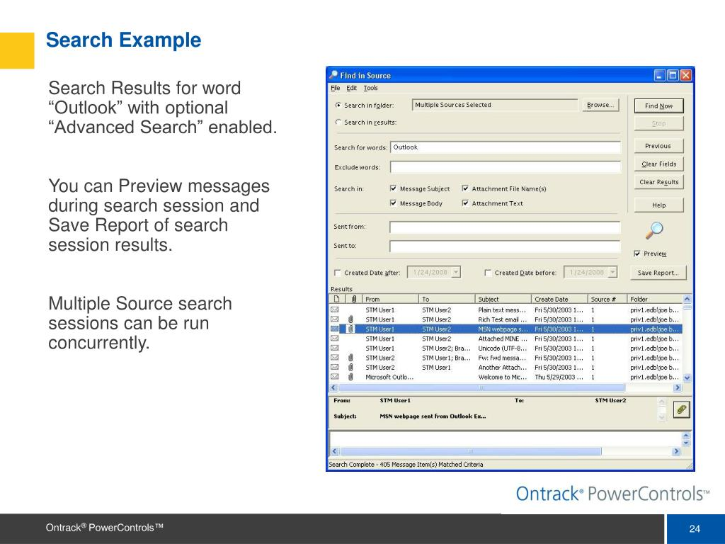 "Search Results for word ""Outlook"" with optional ""Advanced Search"" enabled."