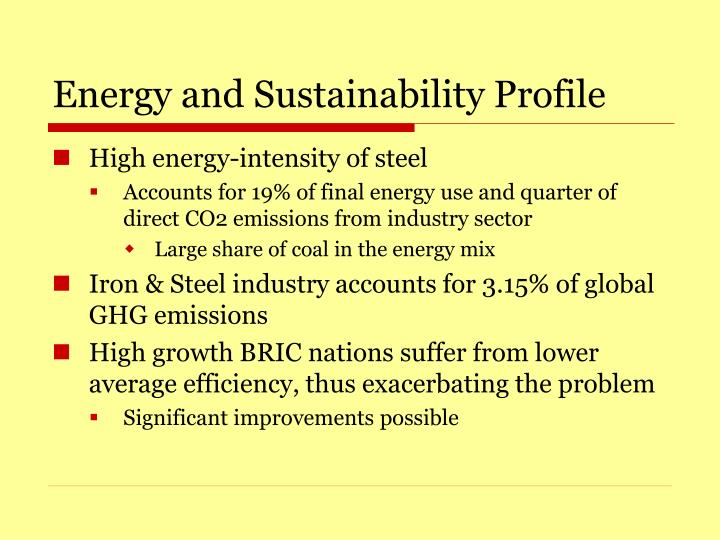 Energy and Sustainability Profile