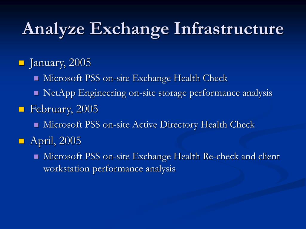 Analyze Exchange Infrastructure
