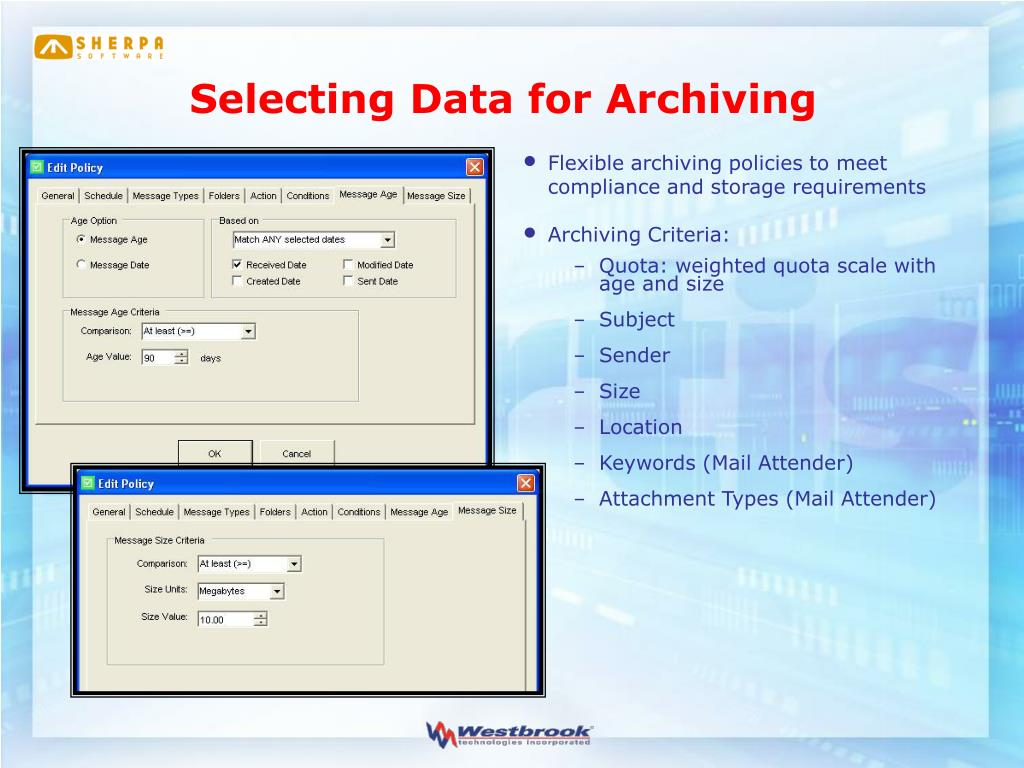 Selecting Data for Archiving
