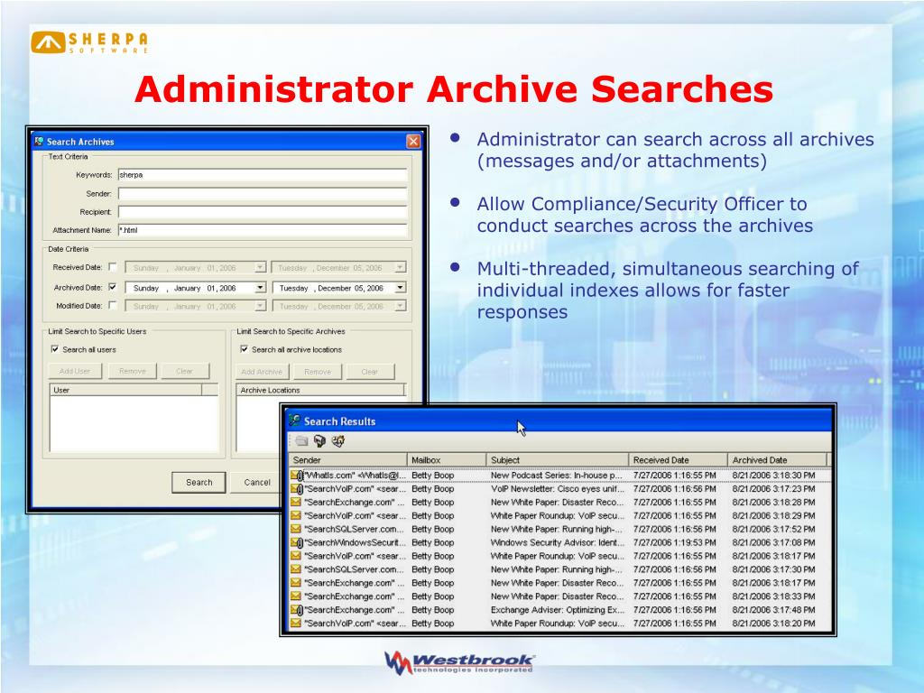 Administrator Archive Searches