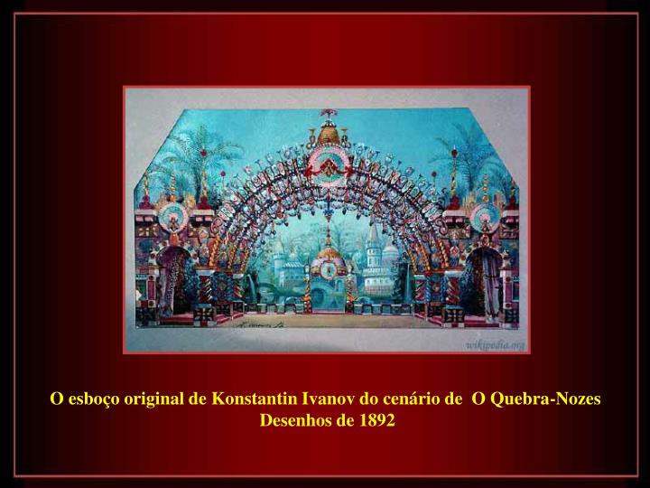 O esboço original de Konstantin Ivanov do cenário de  O Quebra-Nozes