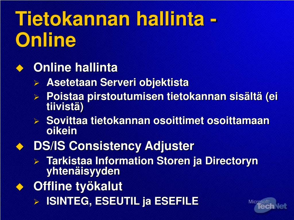Tietokannan hallinta -Online