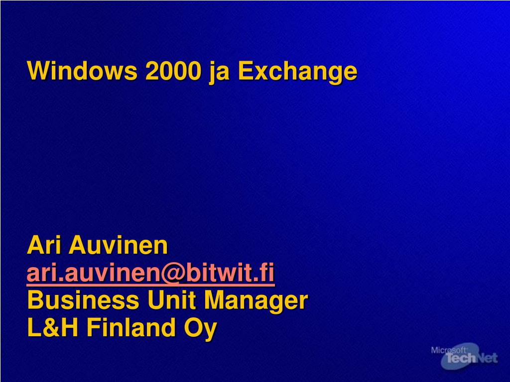 Windows 2000 ja Exchange