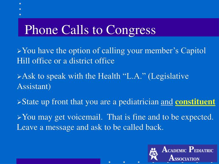 Phone Calls to Congress