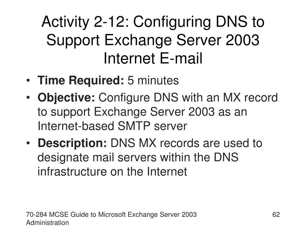 Activity 2-12: Configuring DNS to Support Exchange Server 2003 Internet E-mail