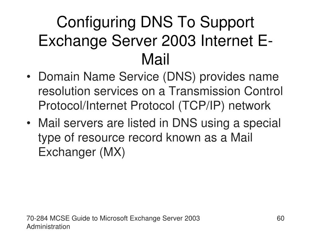 Configuring DNS To Support Exchange Server 2003 Internet E-Mail