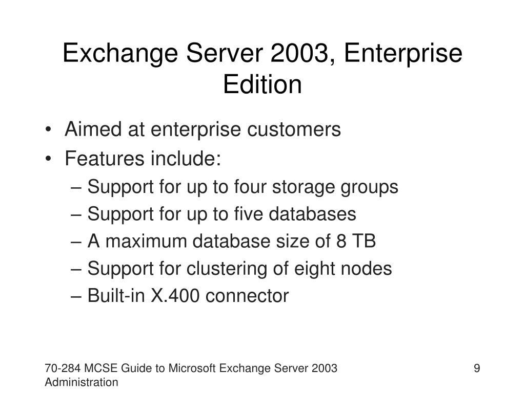 Exchange Server 2003, Enterprise Edition
