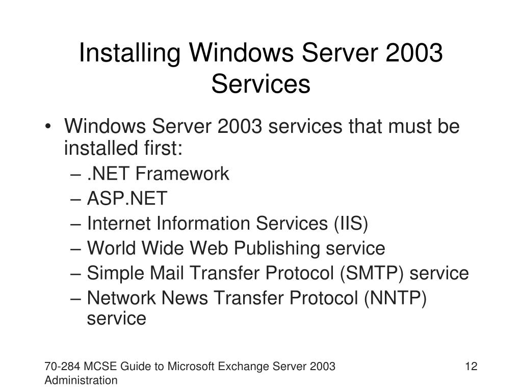 Installing Windows Server 2003 Services