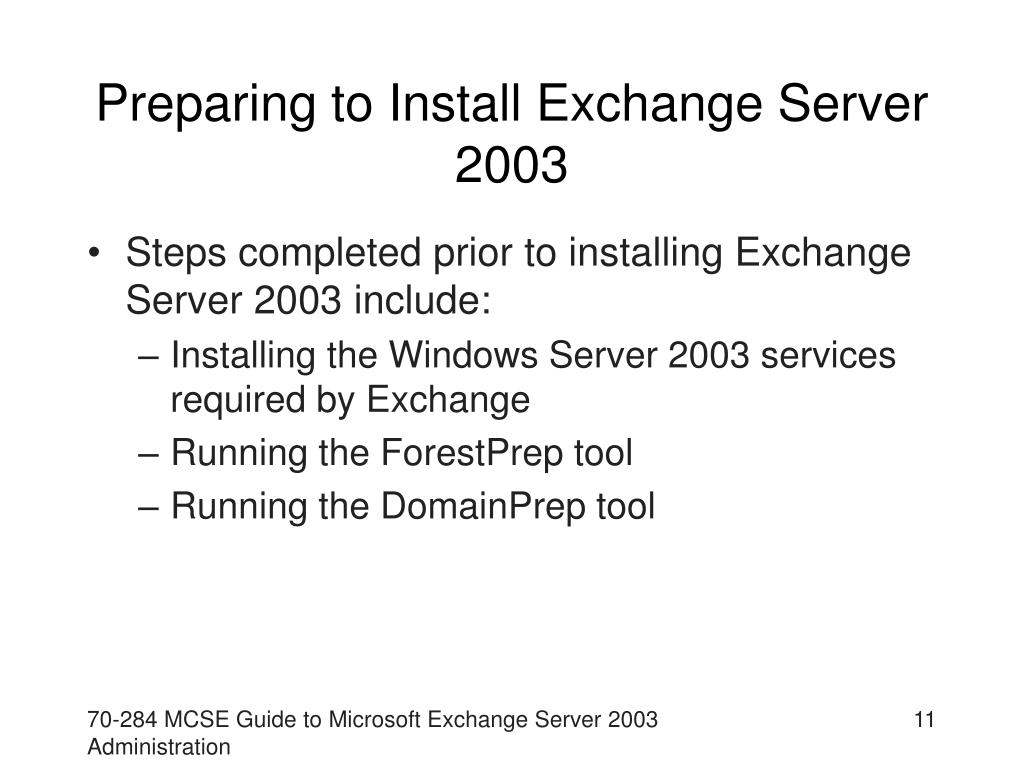 Preparing to Install Exchange Server 2003