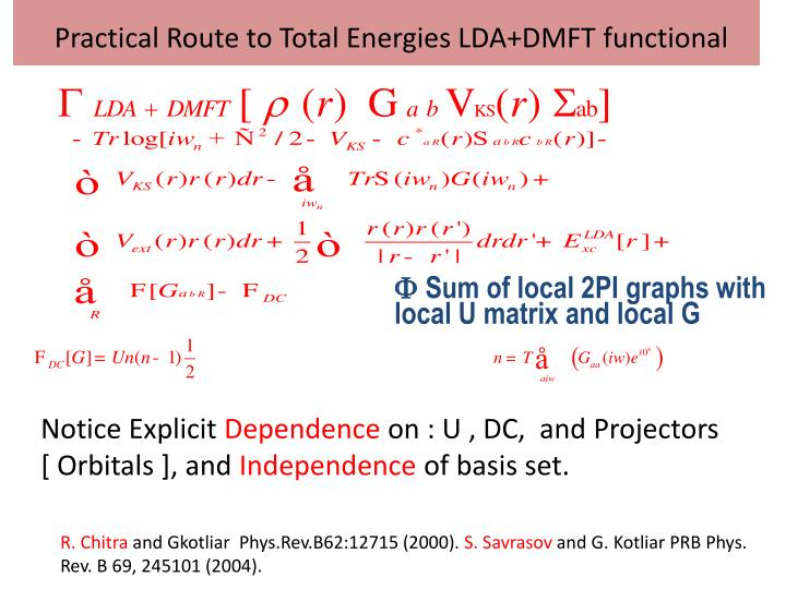 Practical Route to Total Energies LDA+DMFT