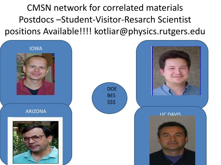 CMSN network for correlated materials