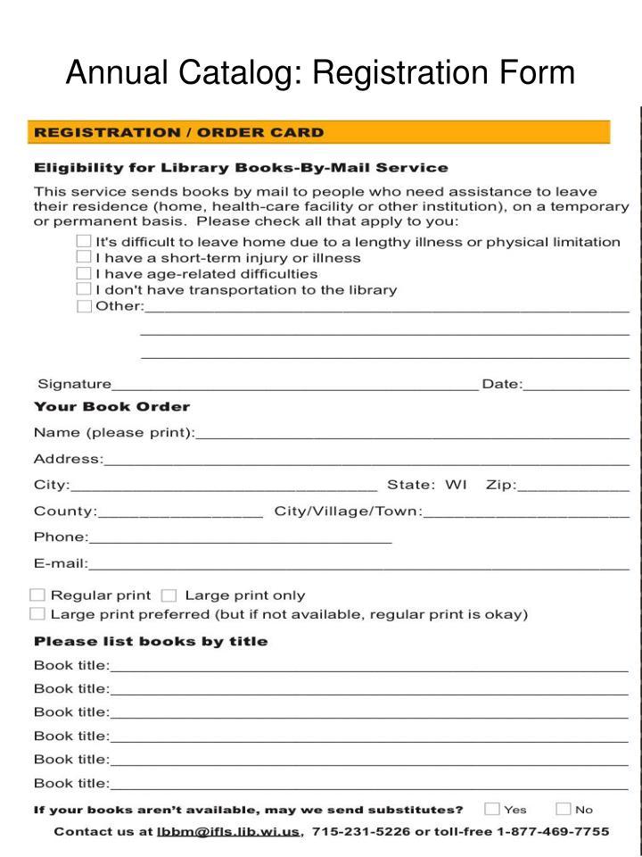 Annual Catalog: Registration Form