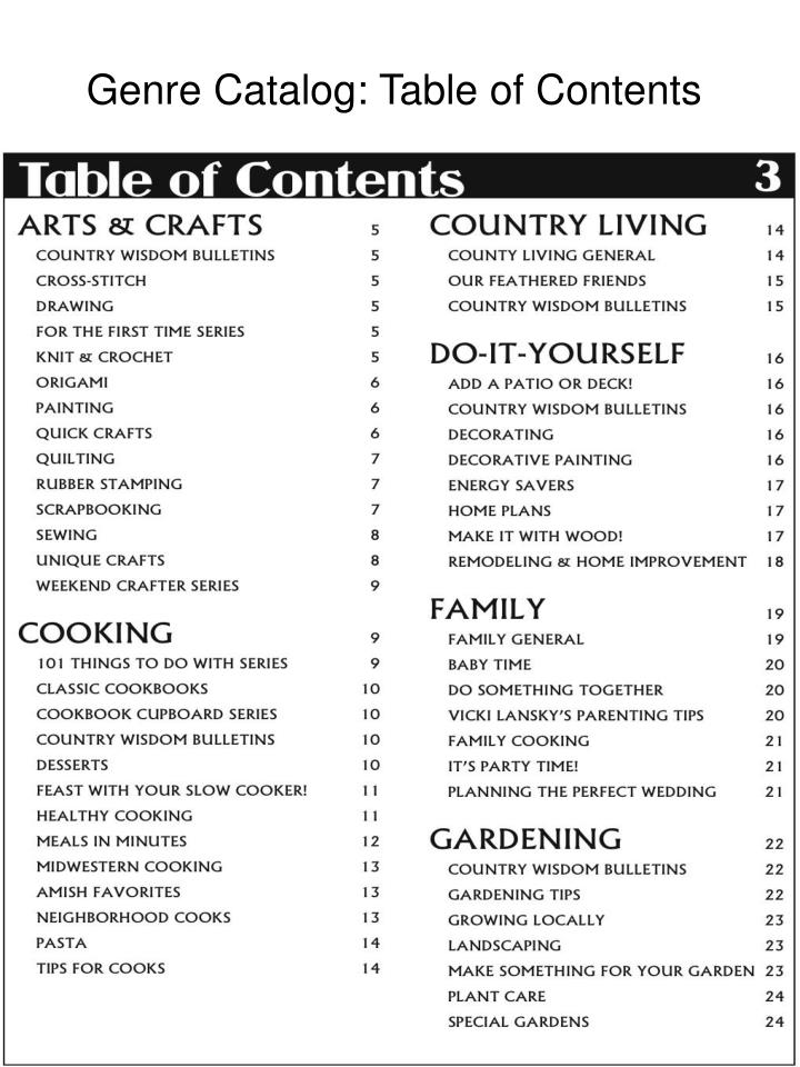 Genre Catalog: Table of Contents