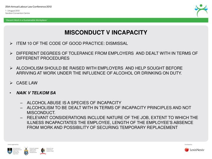 MISCONDUCT V INCAPACITY