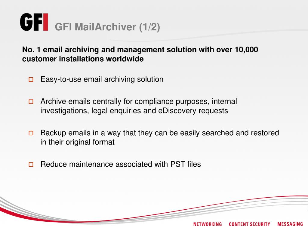 GFI MailArchiver (1/2)