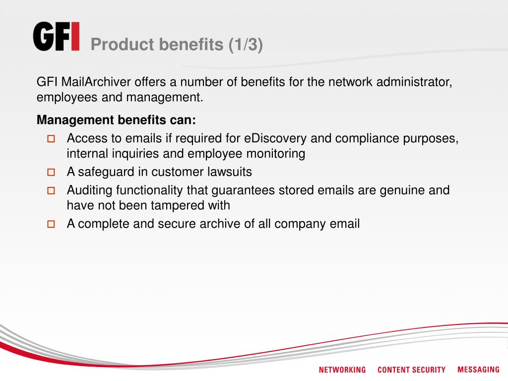 Product benefits (1/3)