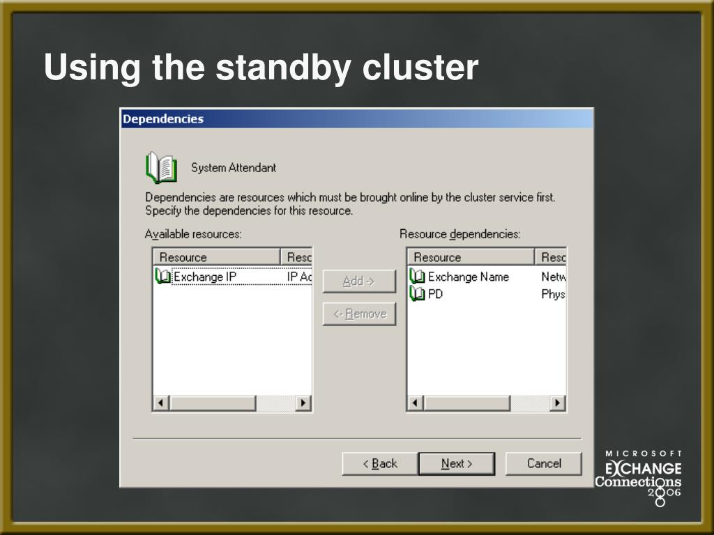 Using the standby cluster