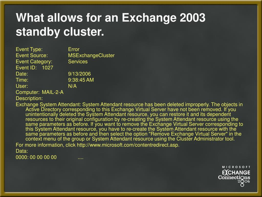 What allows for an Exchange 2003 standby cluster.
