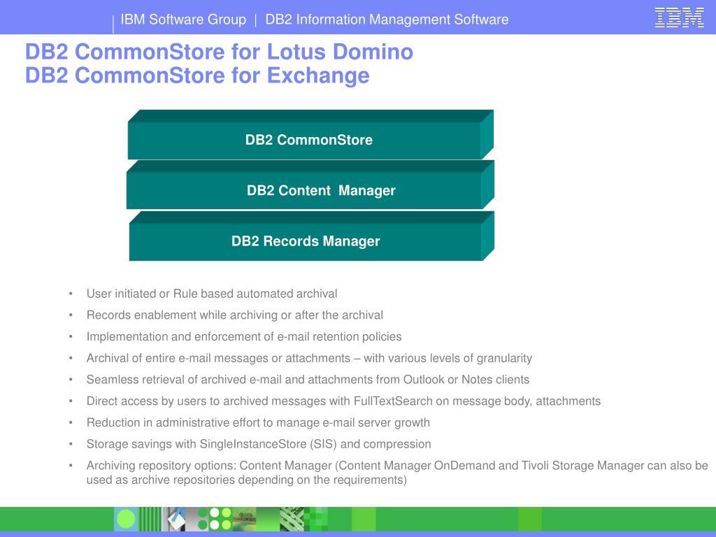 DB2 CommonStore