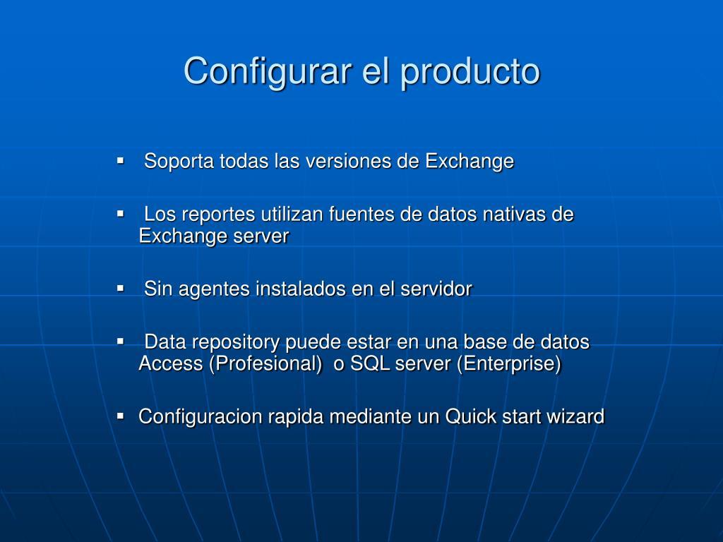Configurar el producto