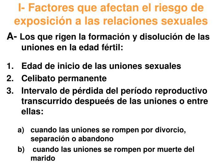 I- Factores que afectan el riesgo de exposición a las relaciones sexuales