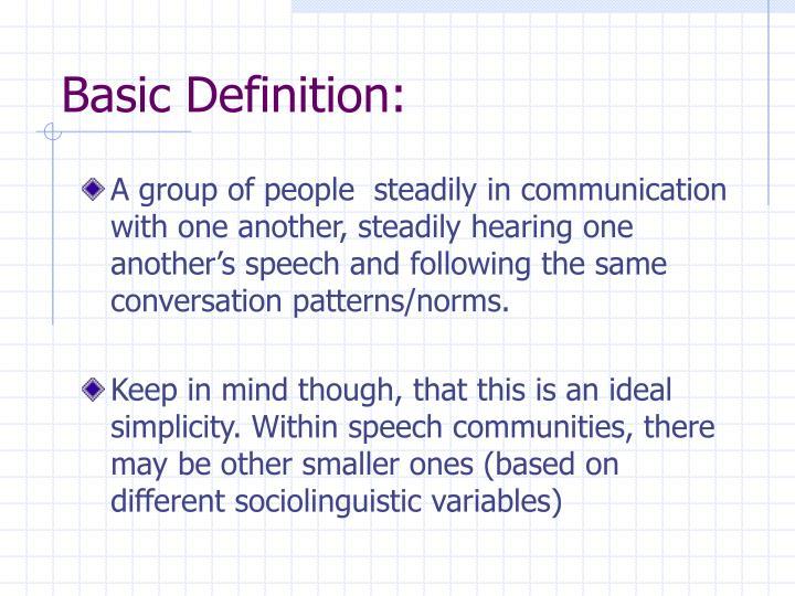 Basic Definition: